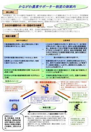 かながわ農業サポーター制度の御案内リーフレット(神奈川県ホームページより)