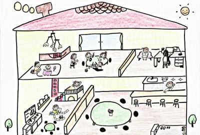 こまちぷらすが設立準備中の、夢の親子カフェ「構想図」(こまちばこより)